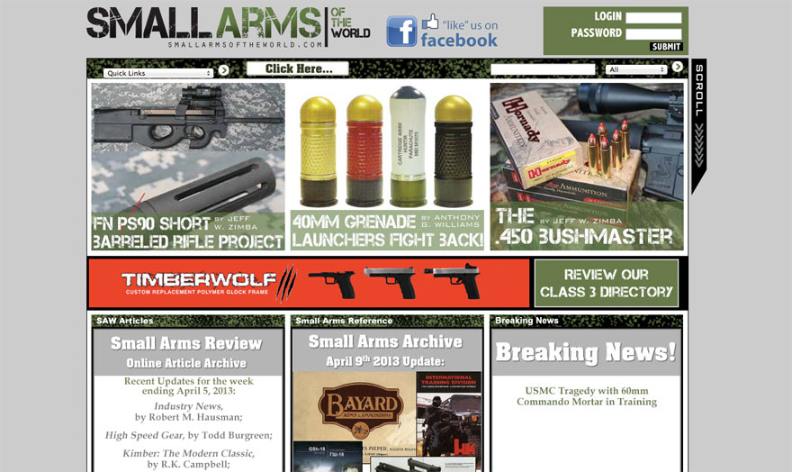 The *original* smallarmsoftheworld.com (the site I was asked to redesign and re-brand).