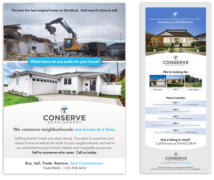 LEFT: Print ad that appeared in <i>South Bay DIGS</i>. RIGHT: Screenshot of sample email marketing.