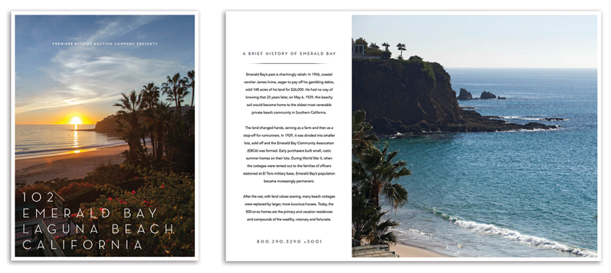Cover and sample spread from the 102 Emerald Bay brochure.  Click image to view full PDF.