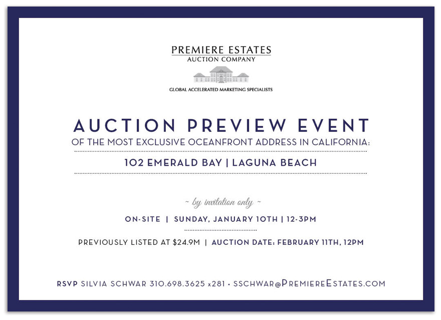 Printed invitation to 102 Emerald Bay\'s auction preview event.