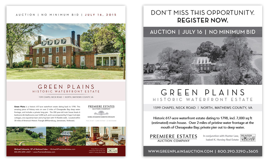 LEFT: Promotional flyer. RIGHT: Small print ad appearing in The Washington Post.