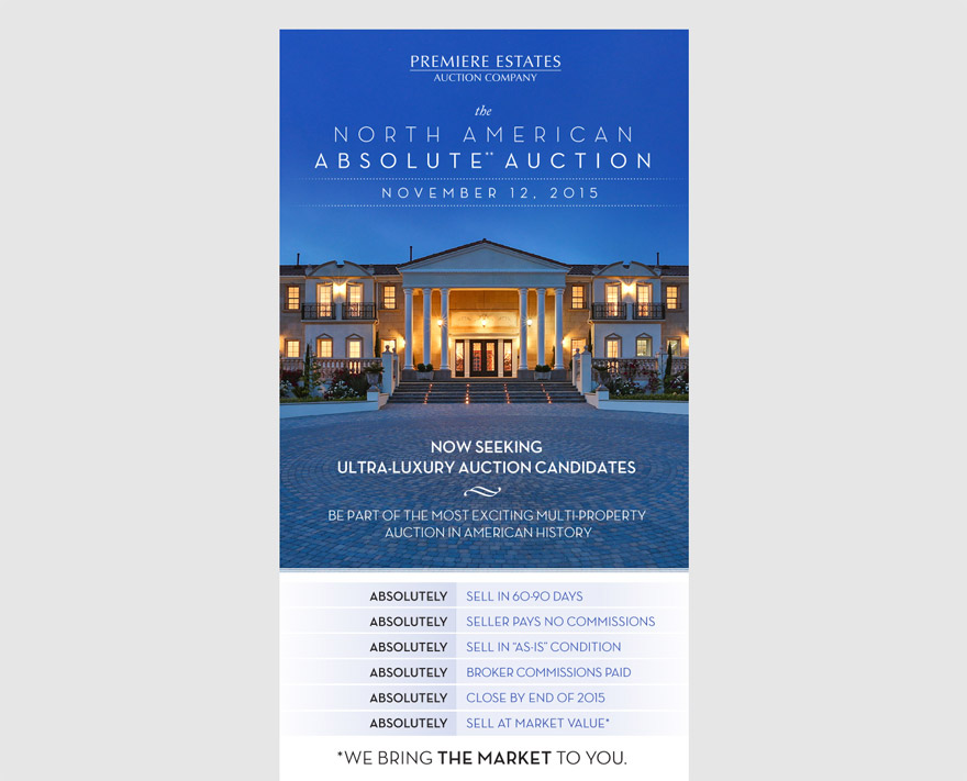 Email marketing sample, promoting The North American Absolute Auction to real estate agents.  Click image to view in browser.