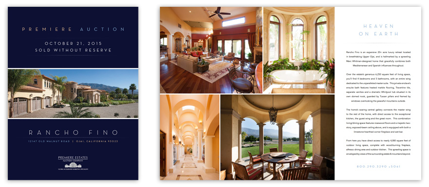 Sample pages from Rancho Fino\'s print brochure. Click images to view full PDF.