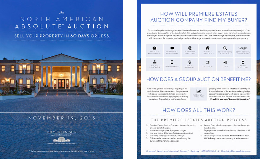 Brochure created to promote The North American Absolute Auction to potential sellers and to answer questions they might have about Premiere\'s auction process.  Click image to view full PDF.