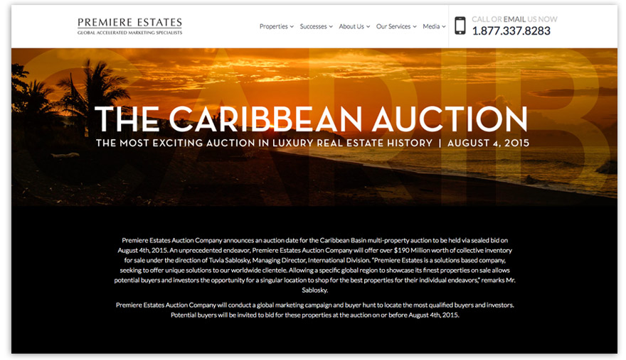 Mini-site created within the existing Premiere Estates site (only two properties remain). Click image to view.