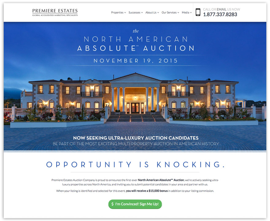 Custom mini-site built within the existing framework of PremiereEstates.com. Click image to view NorthAmericanAbsoluteAuction.com.