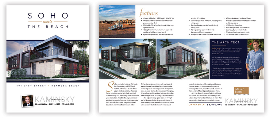 Front cover and inside spread of property brochure (click image to view PDF)