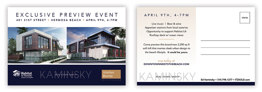 Front and back of direct mail postcard to upcoming preview event (click image to view PDF)
