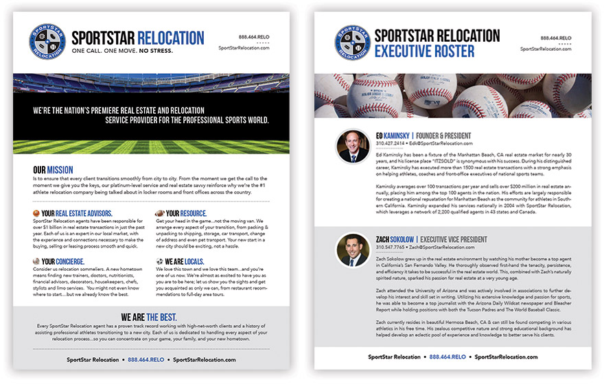Two of the inserts I designed for SportStar\'s presentation folders.